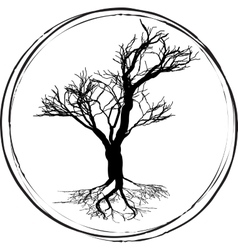 Black and white drawing of deciduous tree black vector