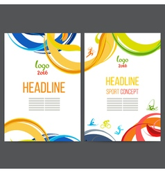 Sport template design strips of colored rings and vector