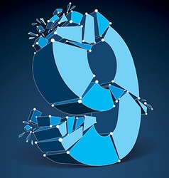 Abstract 3d faceted blue number 9 with connected vector image