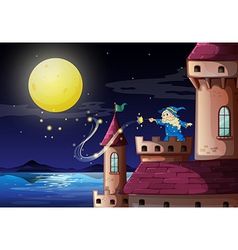 An old wizard at the castle port vector image vector image