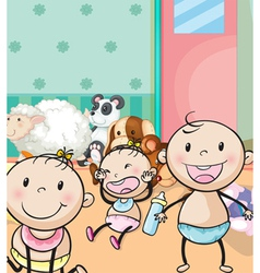 babies and animal toys vector image