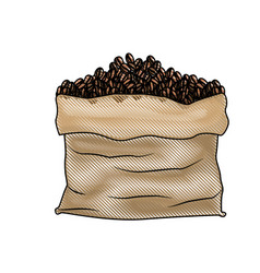 bag with coffee beans colored crayon silhouette vector image vector image