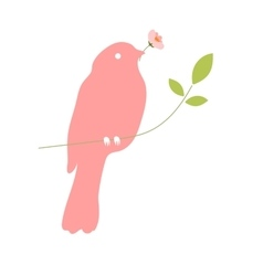 Bird with flower in beak vector