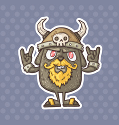 cartoon creature with a helmet with horns vector image vector image