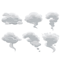 cartoon smoking clouds and comic cumulus cloud vector image vector image