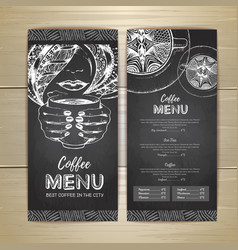 Chalk drawing coffee menu design decorative vector