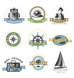 Colored Wanderlust Label Set vector image