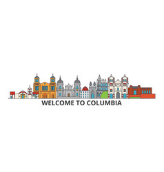 columbia outline skyline columbian flat thin line vector image vector image