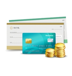 Credit card check and coins vector image