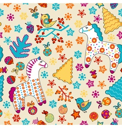 Cute seamless christmas pattern with horses birds vector