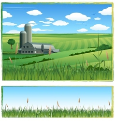 farm harvest background vector image vector image