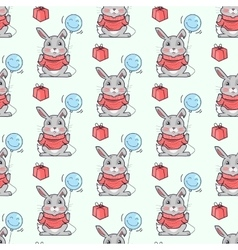 Funny rabbits seamless pattern in flat vector