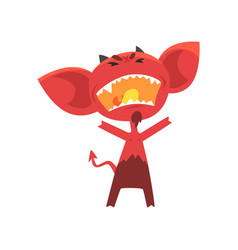 Furious red devil with horns big ears and tail vector