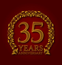 Golden emblem of thirty fifth years anniversary vector