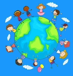 Happy children around the world vector image vector image