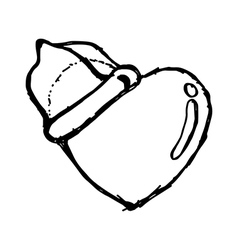 heart with condom vector image
