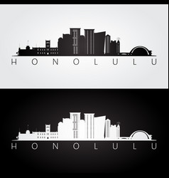 Honolulu usa skyline and landmarks silhouette vector