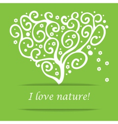 I love nature heart tree symbol vector