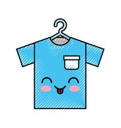 Laundry garments hanging kawaii character vector