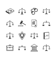 law and justice icons judicial system verdict vector image