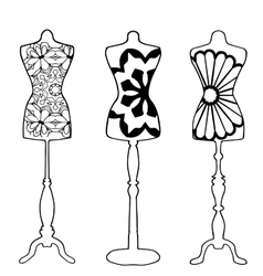 Mannequins drawn in outline vector image