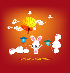 Mid autumn festival rabbit playing with lanterns vector