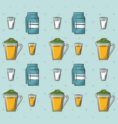 milk and juice drinks vector image vector image