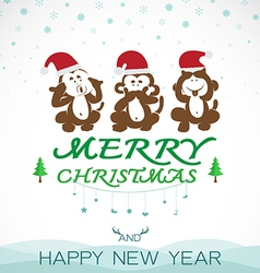 Monkeys merry christmas vector image