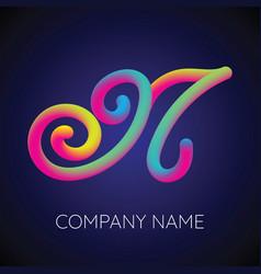 n letter logo icon blending color vector image vector image