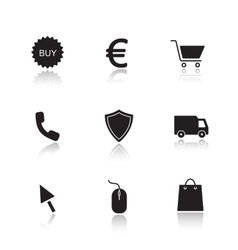 Online marketing drop shadow icons set vector