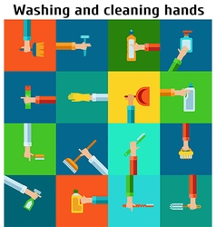 Set of cleaning hands vector image vector image