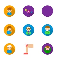 Sick set icons in flat style big collection of vector