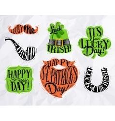 St Patrick symbols color vector image