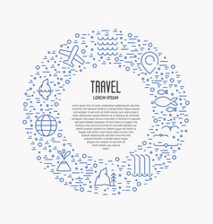 tourism and travel thin line icons vector image vector image