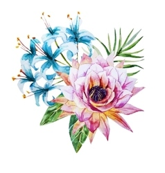 Tropical watercolor flowers vector