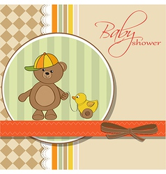 welcome baby card with boy teddy bear and his duck vector image vector image