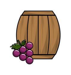 Wool barrel wine with grape fruit vector
