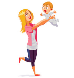 young mum playing with baby vector image
