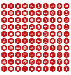 100 fitness icons hexagon red vector