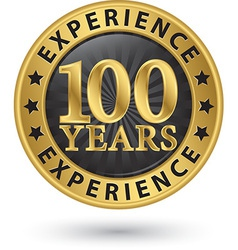 100 years experience gold label vector image vector image