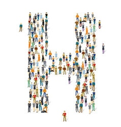 People crowd alphabet abc letter h vector