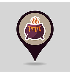 Halloween witch cauldron mapping pin icon vector image
