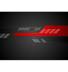 Black and red tech geometric background vector image