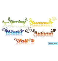 Seasons names and elements vector image