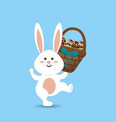 happy easter rabbit eggs day icon vector image