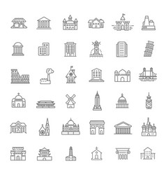 Building icons set government landmarks vector
