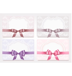 Collection of gift cards with ribbons background vector