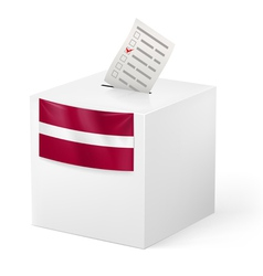 Ballot box with voting paper latvia vector