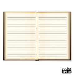 Open old notebook isolated on white vector