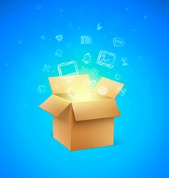 Cardboard Box with Icons vector image